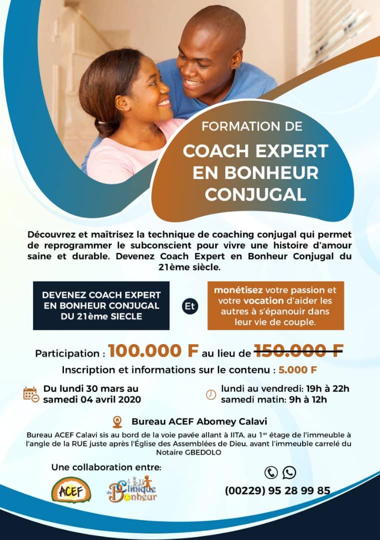 SEMINAIRE DE FORMATION DE COACH EXPERT EN BONHEUR CONJUGAL